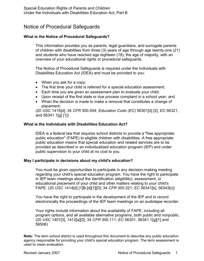 Parents Rights In Special Education Notice Of Procedural Safeguards >> Notice Of Procedural Safeguards