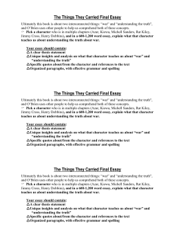 the things they carried characterization the things they carried final essay