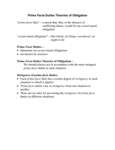 Prima Facie Duties Theories of Obligation