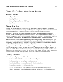 Chapter 12 – Databases, Controls, and Security