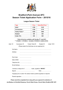 your Season Ticket Application Form 2015