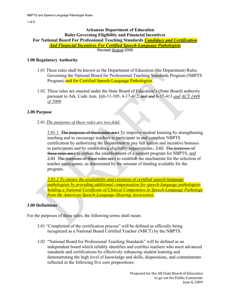 Proposed Rules For Nbpts Arkansas Department Of Education