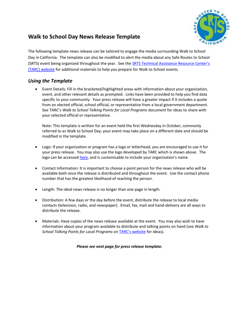 W2s Press Release Te Safe Routes To School Technical