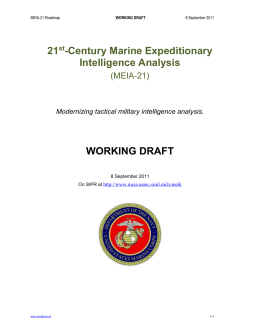 21st-Century Marine Expeditionary Intelligence Analysis