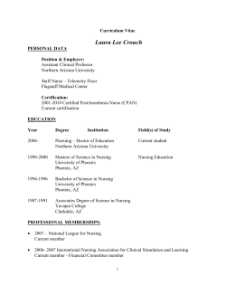 Curriculum Vitae Laura Lee Crouch PERSONAL DATA Position