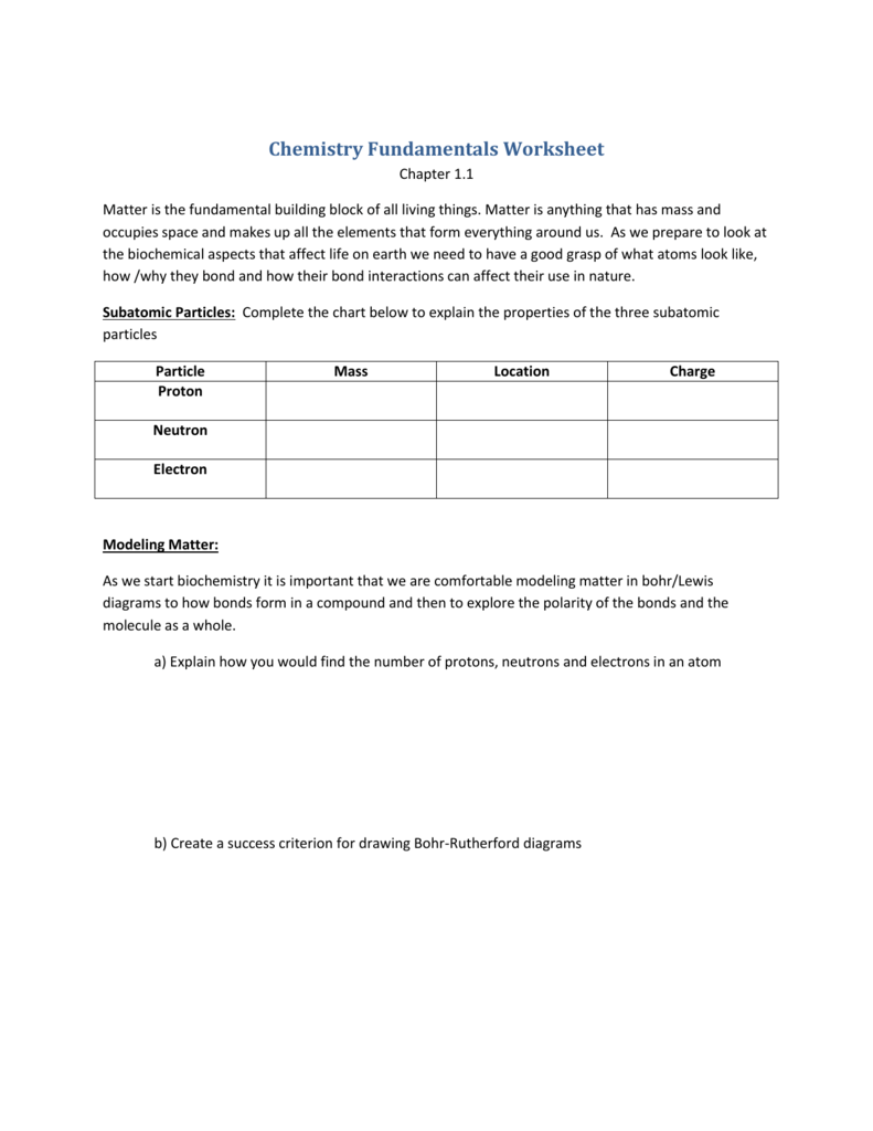 Chemistry Fundamentals Worksheet – Biochemistry Worksheet