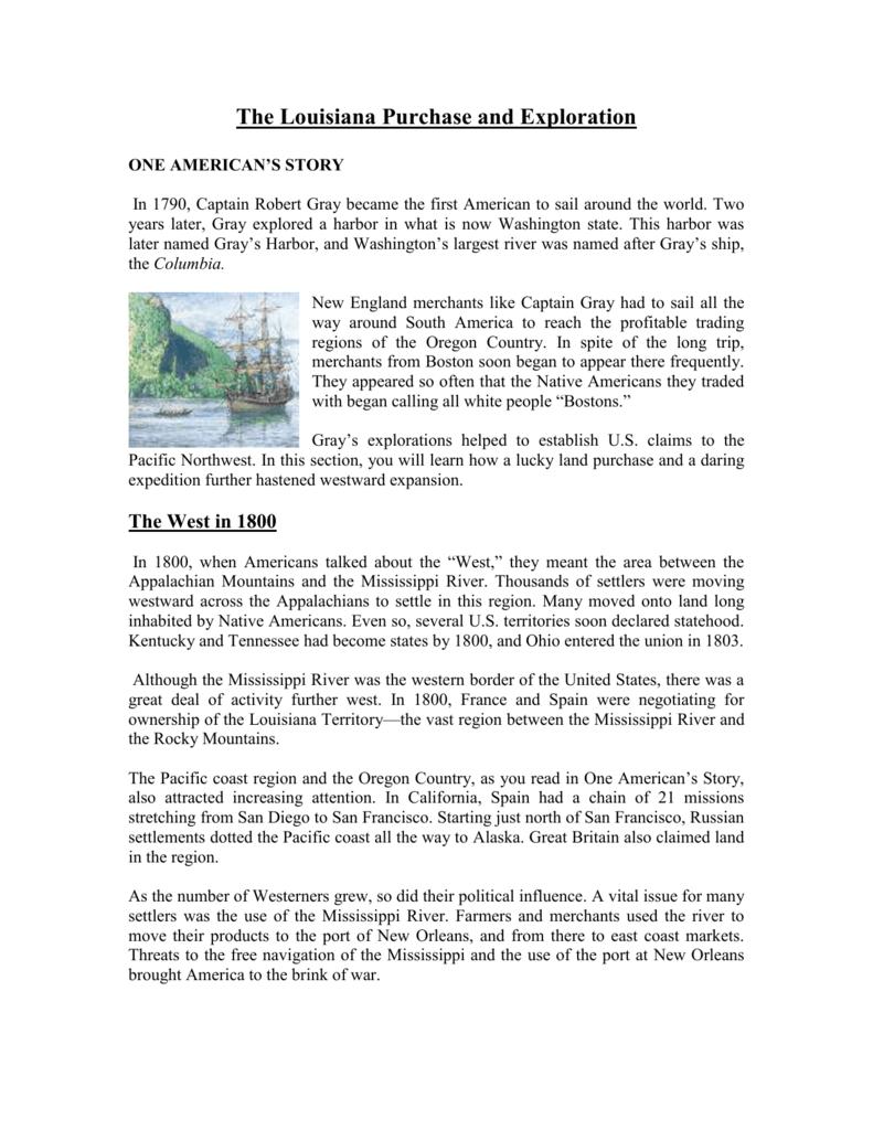 The Louisiana Purchase and Exploration