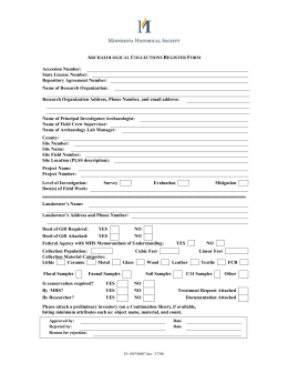 PROPOSED ARCHAEOLOGY REGISTER FORM 6//2005