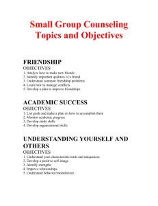 Small Group Counseling Topics and Objectives