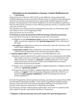 Information on the Amendment to Germany´s Genetic Modification