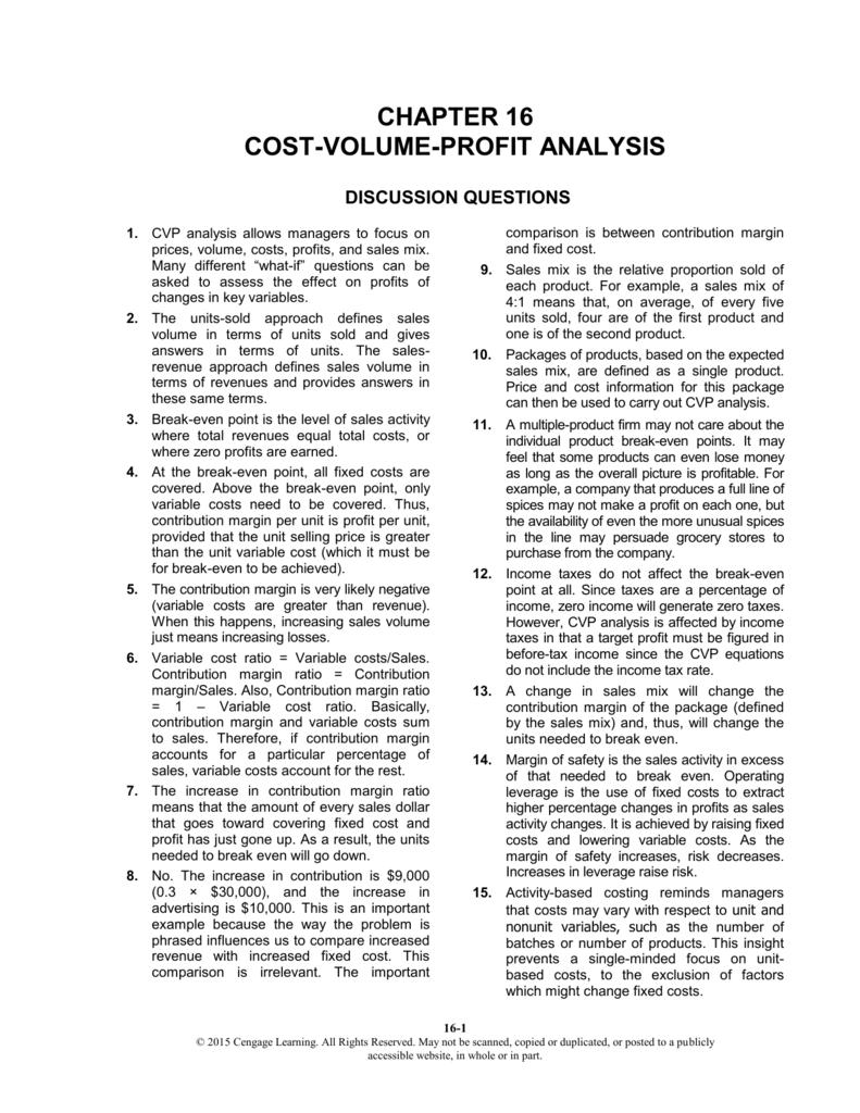 chapter 16 cost-volume-profit analysis