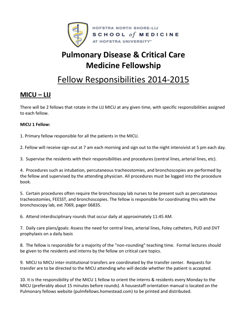 fellow responsibilities - NS/LIJ Pulmonary Critical care