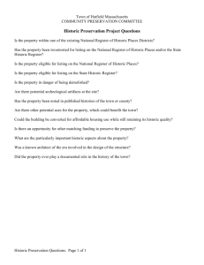 Historic Preservation Questions Word Doc
