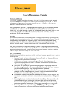 Head of Insurance- Canada Company and Strategy As a North