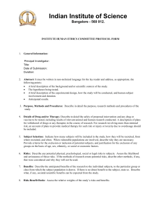 INSTITUTE HUMAN ETHICS COMMITTEE PROTOCOL FORM 1