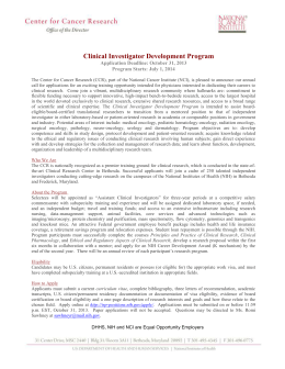 Center for Cancer Research Clinical Investigator Development