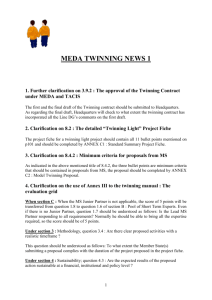 MEDA TWINNING NEWS 1 1. Further clarification on 3.9.2 : The