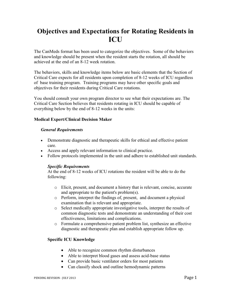 ICU Objectives & Expectations