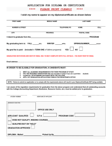 APPLICATION FOR DIPLOMA OR CERTIFICATE