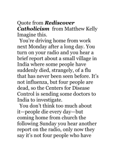 Quote from Rediscover Catholicism from Matthew Kelly