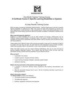 Teacher training course in specific learning
