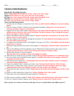 Name Date Period Reading Guide 13 1 Volcanoes And
