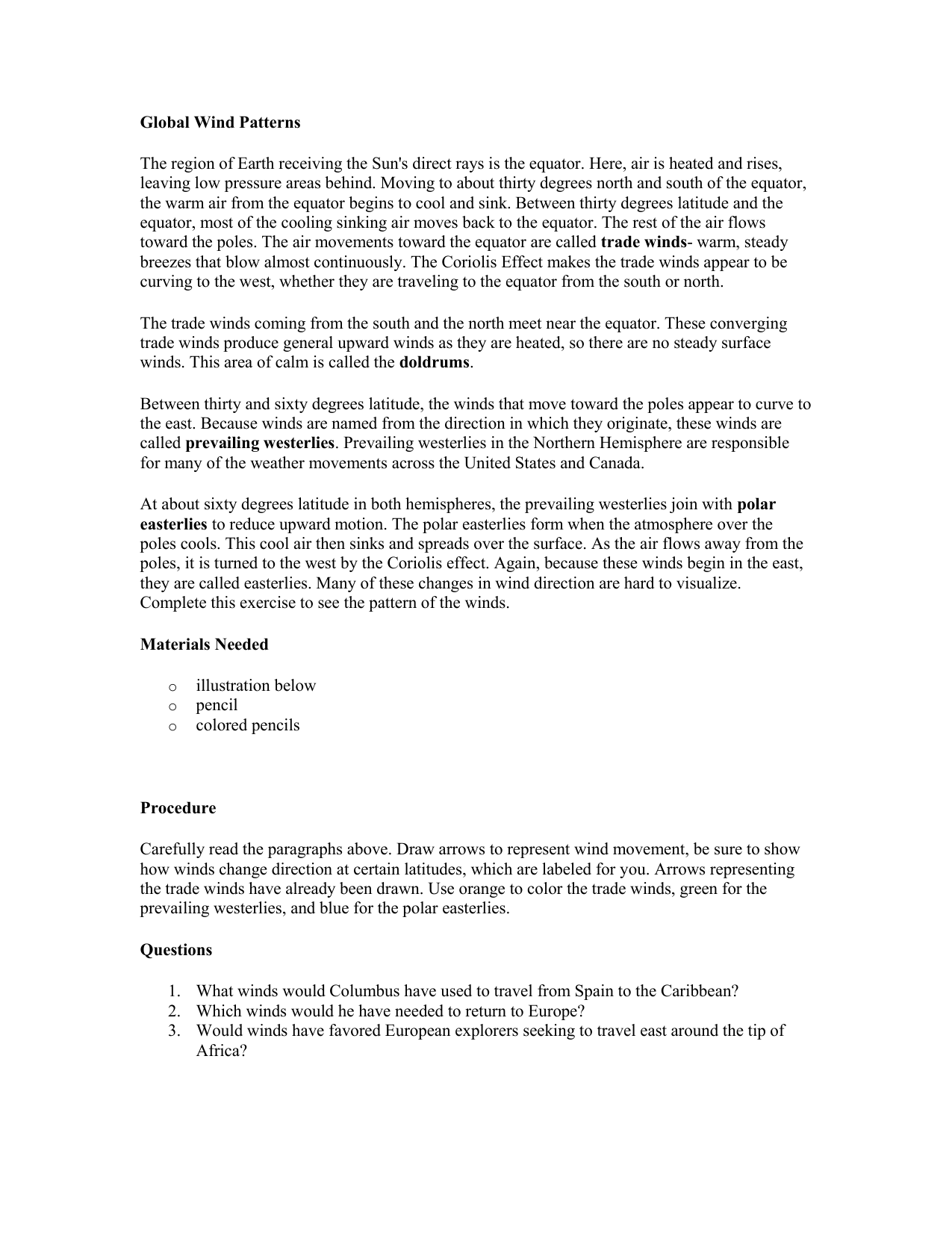 worksheet Global Wind Patterns Worksheet global wind patterns worksheet