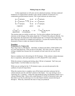 chemistry lab report soap Chemical reactions: soap making purpose: to understand why soap is useful in cleaning and understand the chemistry behind the making of soap equipment: - material safety data sheets (msds) for sodium hydroxide and ethyl alcohol  physical science page 2 lab experiment #5.