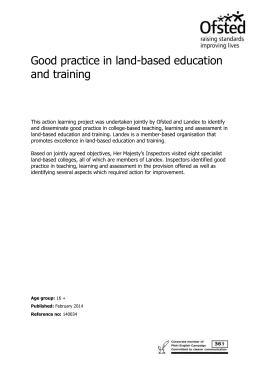 Good practice in land-based education and training