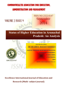 Higher Education in Arunachal Pradesh: Issues and Prospects