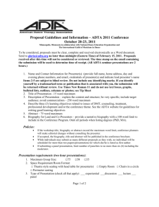 Proposal Guidelines and Information – ADTA 2011 Conference
