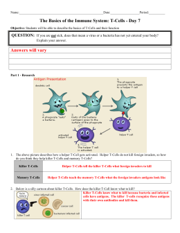 Day 7 Basics of the Immune System T-Cells - Answer