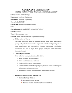 COVENANT UNIVERSITY COURSE COMPACT FOR 2012/2013