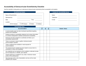 Accessibility of Extracurricular Event/Activity Checklist
