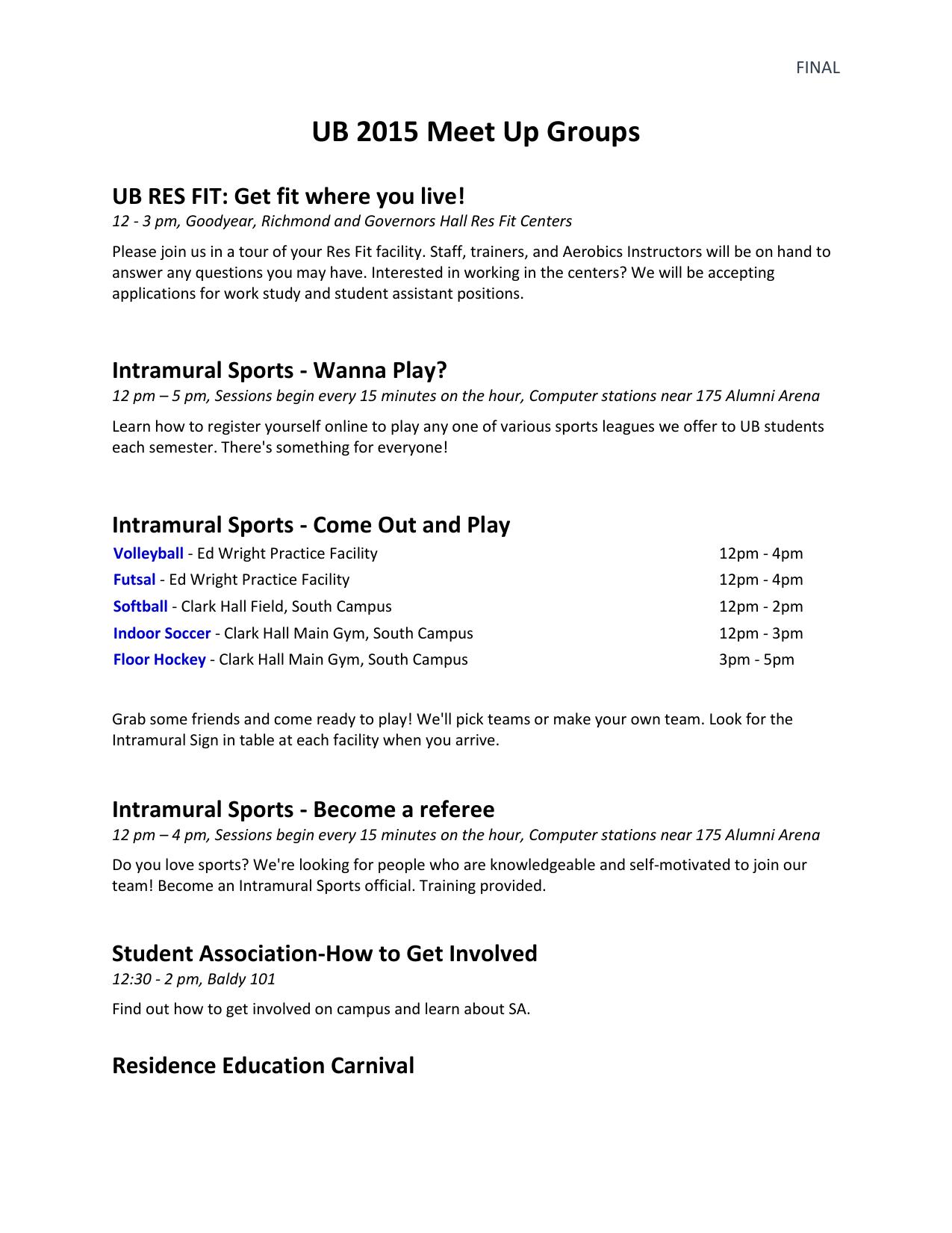 UB 2015 Meet Up Groups List (WORD)
