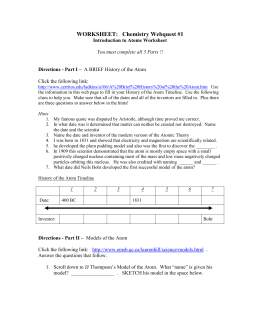 Chemistry Webquest #1: Introduction to Atoms Worksheet