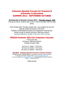 Intensive Spanish Courses for Erasmus & University in Barcelona