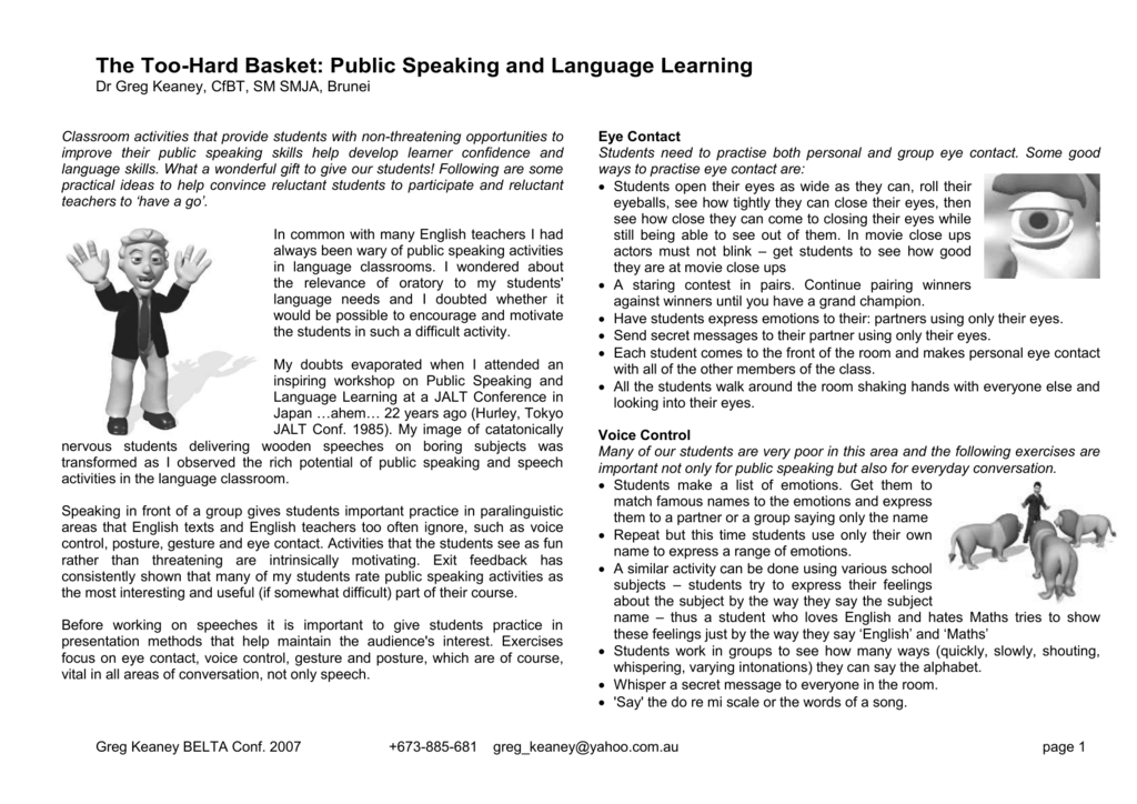 The Too-Hard Basket: Public Speaking and Language Learning