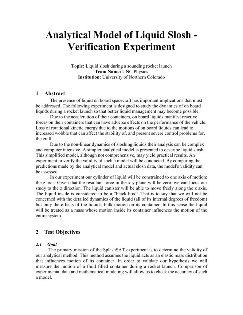 Analytical Model of Liquid Slosh - Verification Experiment