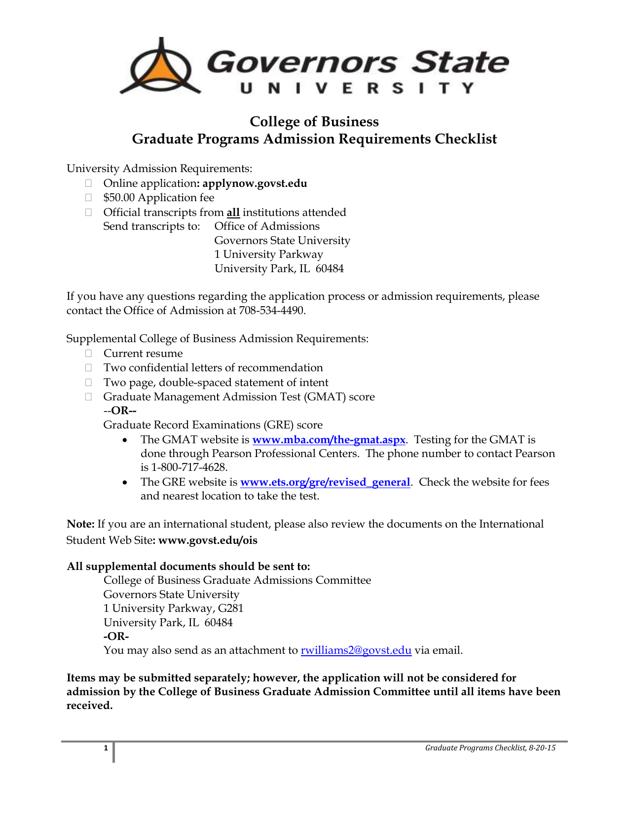 College of Business Graduate Programs Admission Requirements