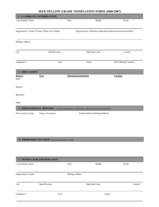 IEEE FELLOW GRADE NOMINATION FORM B