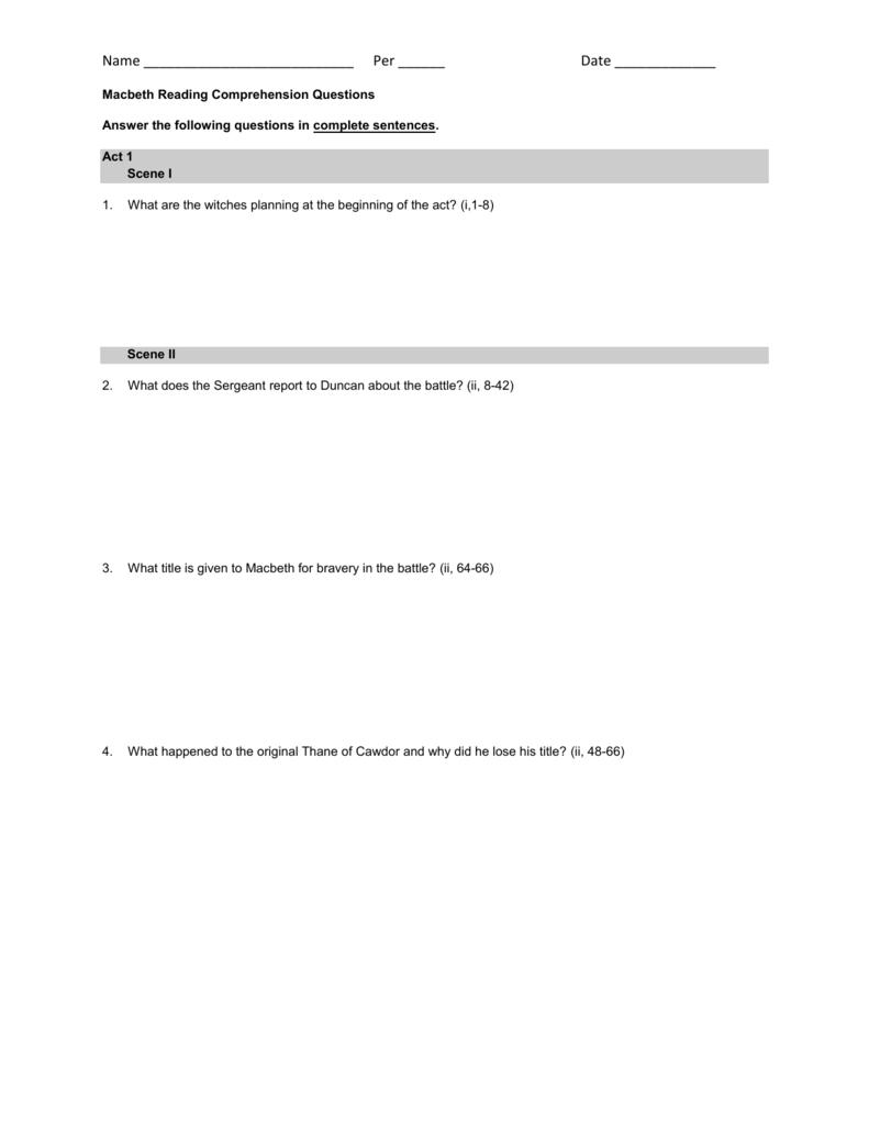 Macbeth Reading Comprehension Questions
