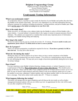 Urodynamic Testing Information