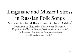 Linguistic and Musical Stress in Russian Folk Songs