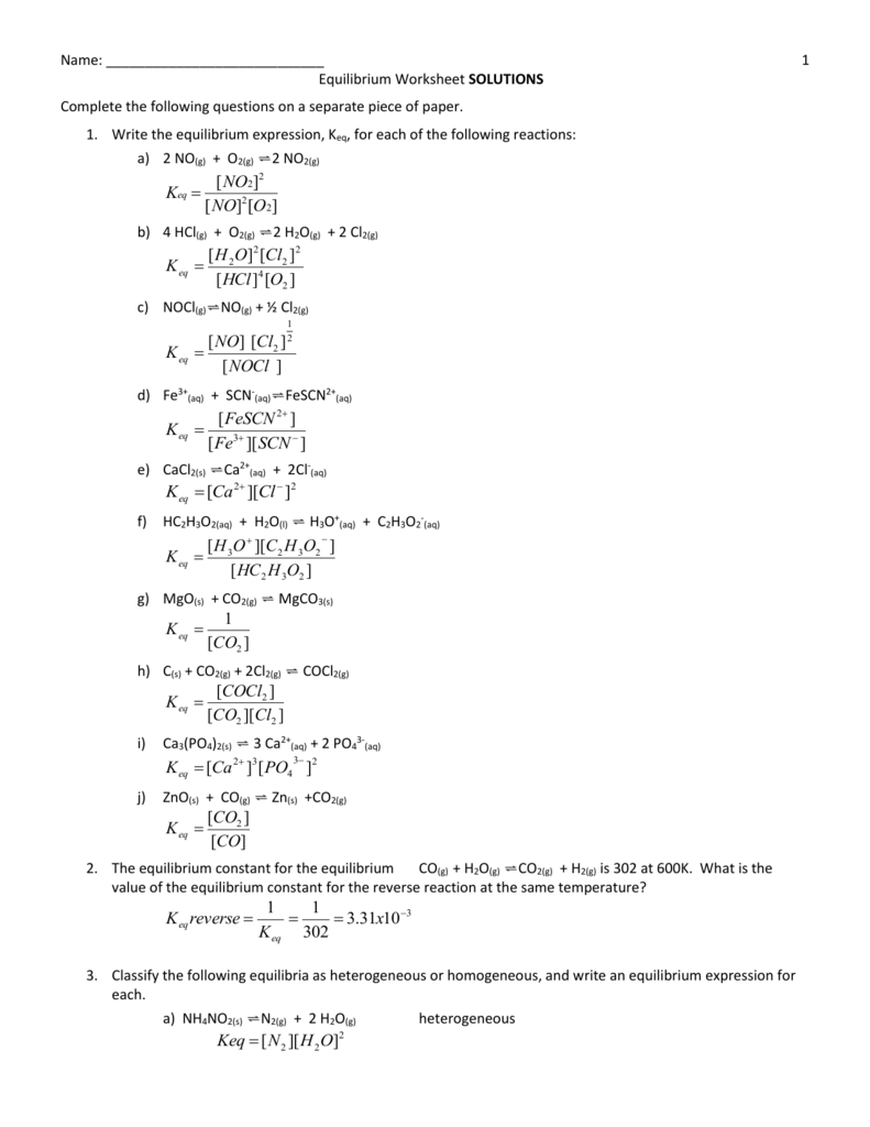 equilibrium worksheet solutions final