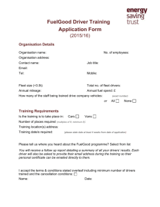 FuelGood Driver Training Application Form (2015/16) Organisation