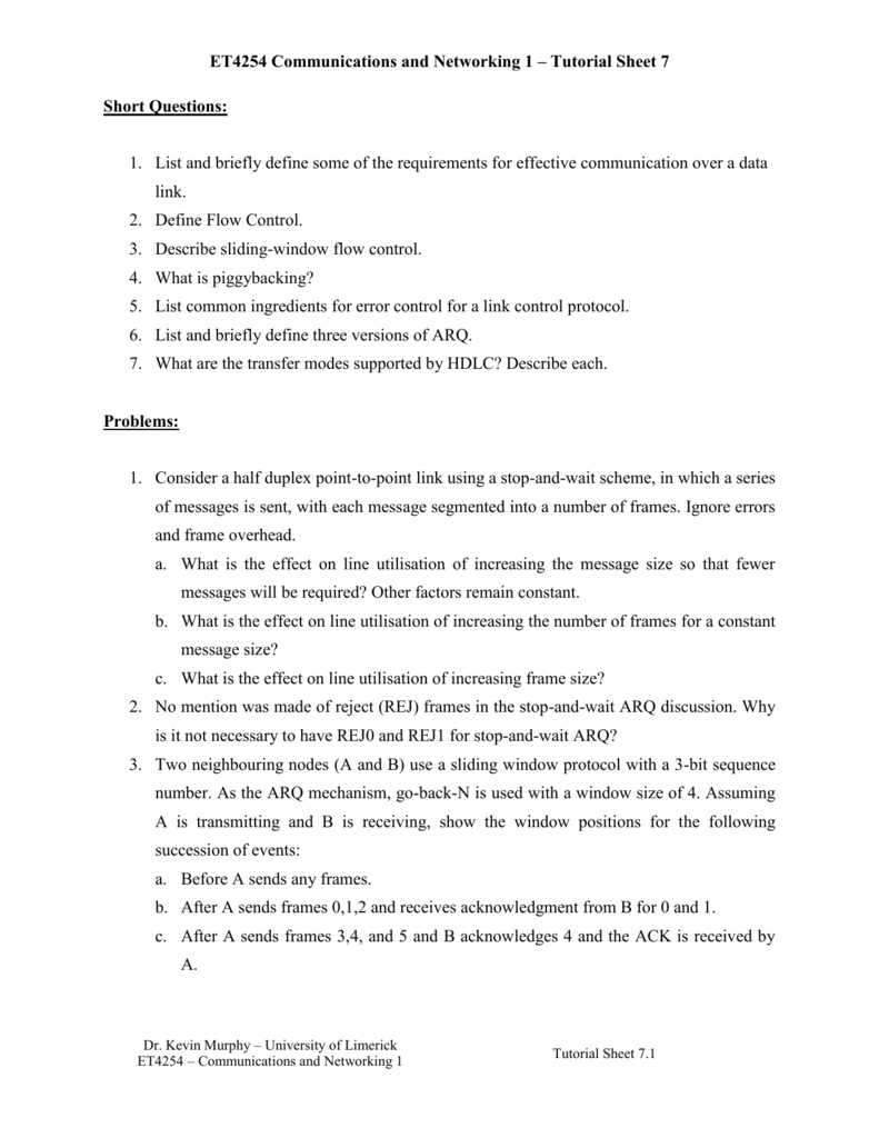 ET4254 Communications and Networking 1 – Tutorial Sheet 7