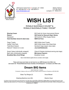 Wish List - Ronald McDonald House Charities of the Bluegrass