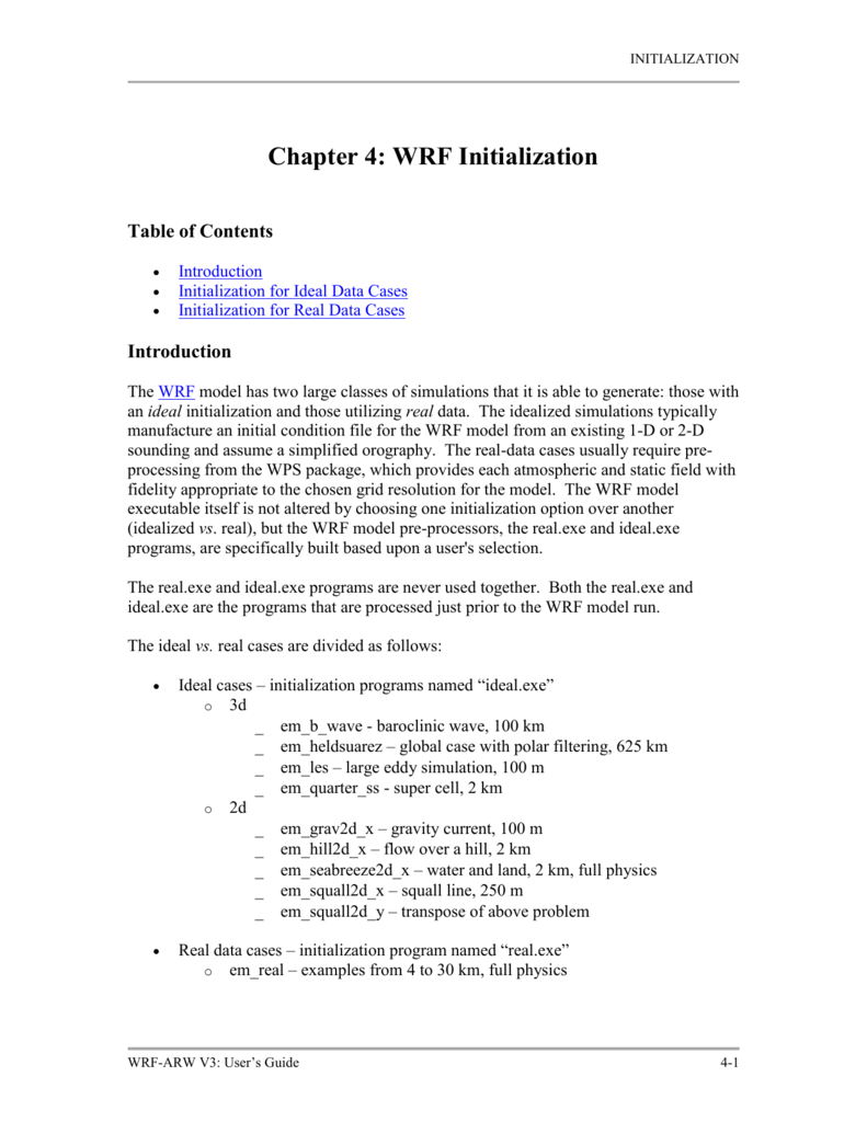 Chapter 4: WRF Initialization