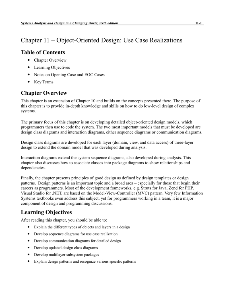 Chapter 11 Object Oriented Design Use Case Realizations